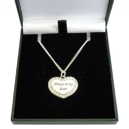 Engraved Memorial Necklace, Heart Pendant with Crystals
